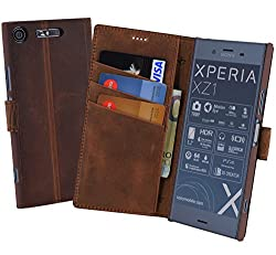 Suncase Book-Style (Slim-Fit) kompatibel mit Sony Xperia XZ1 Ledertasche Leder Tasche Handytasche Schutzhülle Case Hülle (mit Standfunktion und Kartenfach) antik Coffee