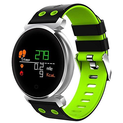 ZZY Multifunktions-Smartwatch für iOS/Android-Telefone, geeignet für Erwachsene und Kinder (schwarz, blau, grün, rot) (Farbe : Green)