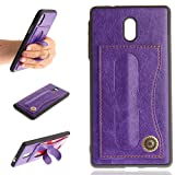Lusenbo Case Nokia 3 Etui en Cuir, Etui Portefeuille [Cash et Fentes pour Cartes] [Très Mince] [Couverture Rigide] Etui Portefeuille pour téléphone pour Homme d'affaires/Femme - Purple