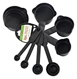 Bulfyss 8Pcs Plastic Measuring Cup and Spoon Set, Black