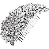 PIXNOR Strass Decor capelli pettine Clip capelli Pin donna per sposa (argento)