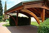 G&C Revelatio – Doppelcarport aus Holz – Starke Pfosten (16x16cm) – Grüne oder schwarze Bitumenschindeln – Maße: 5,9 m x 3,25 m x h3,26 m