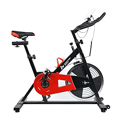 Indoor Aerobic Exercise Bike Training Spinning Bike Cycle Fitness Cardio Workout Machine-18kg Direct Belt Driven Flywheel with Adjustable Friction Resistance, Emergency Stop System, Large 6-Function Monitor, Ergonomic Handlebars with Heart Rate Sensors, W