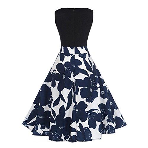 Ärmelloses Kleid Frauen, Hansee Frauen Büro Kleid Vintage Hepburn Kleid Floral Elegant Ballkleid Partykleid (L) (Denim Ärmelloses Shirt Rosa)