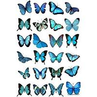 24 adornos comestibles para tartas de 4 cm en papel de arroz con mariposas azules mixtas