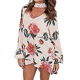 Elegante camicetta da donna in chiffon a maniche lunghe - hibote rosa con stampa floreale con scollatura a choker scollo a chiffon Tunica ampia nero / beige