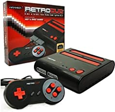 Retro-Bit Retro Duo Twin Video Game System NES and SNES V3.0 - Black/Red