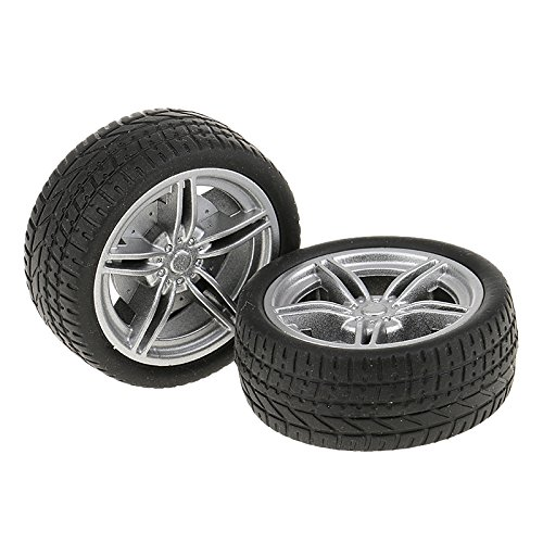 MagiDeal 2 Pieces 40mm Durable Rubber Wheels Toy Tyres DIY toy for RC Car Model Making  available at amazon for Rs.170