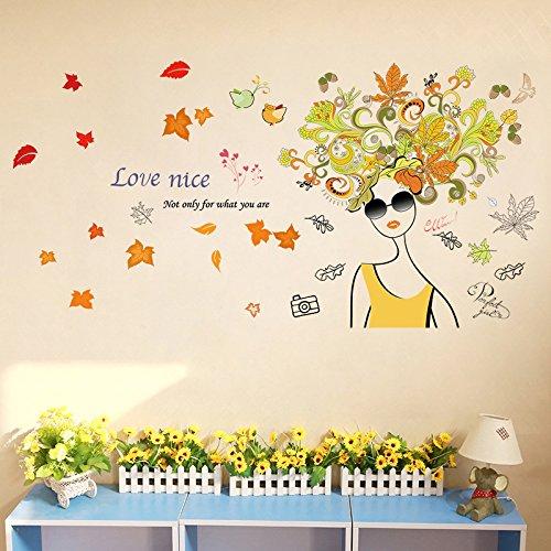 Tai&xin Blume Elf Wandaufkleber Schlafzimmer Wohnzimmer Dekoration Mode Sonnenbrille Frau Wandaufkleber 50 * 70 Cm
