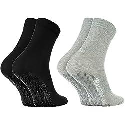 Rainbow Socks 2 pares de Calcetines ANTIDESLIZANTES ABS ALGODÓN, Ideales para: Suelos Resbaladizos, Yoga, Trampolines, Stretching |NEGRO GRIS 44-46 el Certificado Oeko-Tex, Made in UE