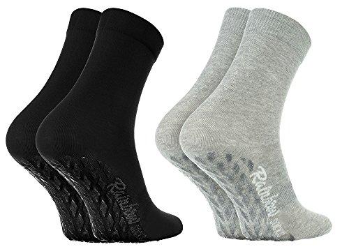 Rainbow Socks - Damen Herren Bunte Baumwolle Antirutsch Socken ABS - 2 Paar - Grau Schwarz - Größen EU 42-43