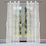 Linenwalas Elegant Jacquard Leaf Design Sheer Door Curtains with Eyelet Rings for Living