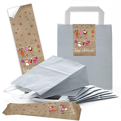 e76df7825 50 gris bolsas de bolsas de papel de regalo, weihnac htstüten con suelo (18  x 8 x 22 cm), con pequeños bolsillos Papel con pegat