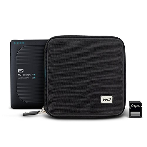 WD My Passport Wireless Pro - Funda rígida con Ranuras para Tarjetas SD, Color Negro