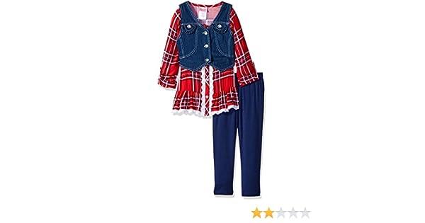Nannette Girls 3 Piece Legging Set with A Plaid Shirt and Denim Vest