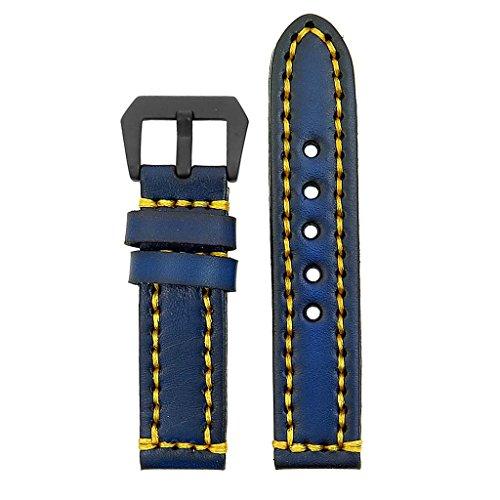 strapsco-18-mm-Vintage-Dickes-Leder-Armbanduhr-Band-in-blau-mit-schweren-Pflicht-yellowstitching-und-matt-schwarz-Pre-V-Schnalle