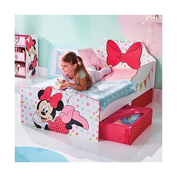 Hello Home Minnie Mouse Toddler Bed with Underbed Storage, Wood, White, 142 x 77 x 63 cm  Perfect for transitioning your little one from cot to first big bed The perfect size for toddlers, low to the ground with protective side guards to keep your little one safe and snug Two handy underbed, fabric storage drawers 2