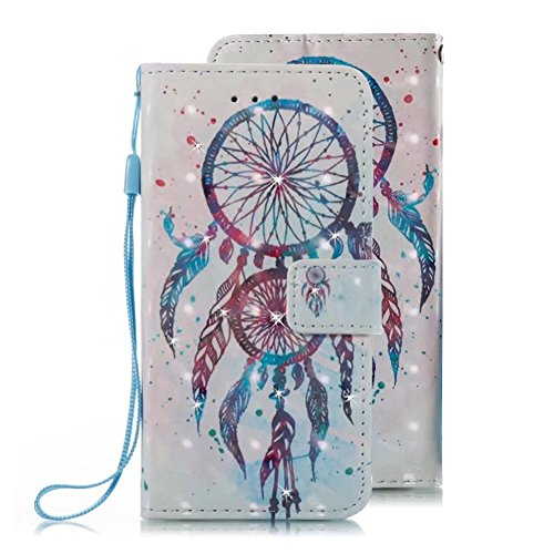 Samsung Galaxy S6 Edge Wallet Case, VMAE PU Leather Color Print Diamond Flip Cover with ID Credit Card Slots Lanyard, Magnetic Snap Stand Case for Galaxy S6 Edge - BlueBell