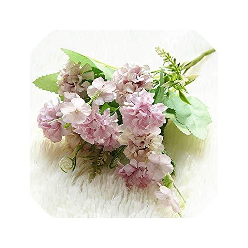 Lovtiful Artificial flower 9 Heads Hydrangea Kunstblumen-Kugel Bunch Fake Flowers Silk DIY Inneneinrichtungen Blumen Hochzeit Dekoration Tabelle Bouquet, Lila - Bouquet Lila Flower Silk