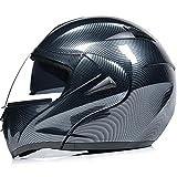 KIKTS Casco Integrale Airoh per Uomo E Donna, Casco Moto Aperto in Simil Carbonio Nero con Visiera Parasole Interna E Fodera Rimovibile,XL