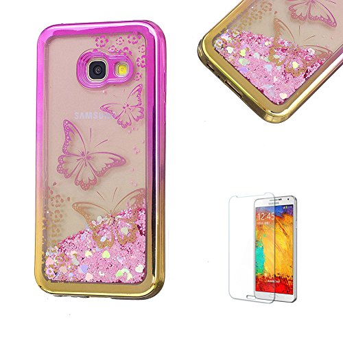 Product Image of For Samsung Galaxy A3(2017 Model) Case A320 Cover, Funyye New Creative Floating Water Liquid Small Love Hearts Design Luxury Sparkly Lovely (Pink to Gold) Electroplate Plating Frame Crystal Design for Samsung Galaxy A3(2017 Model)- Butterfly Flower