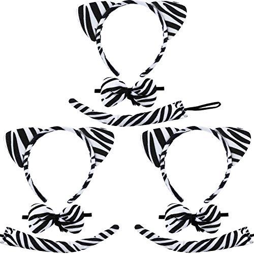 Zebra Kostüm Schwanz - 3 Sätze Zebra Kostüm Zubehör, Zebra Ohren Stirnbänder Fliege und Zebra Schwanz für Cosplay Halloween Party, Total 9 Stücke