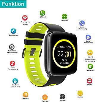 Yamay Smartwatch Bluetooth Smart Watch Uhr Mit Pulsmesser Armbanduhr Wasserdicht Ip68 Fitness Tracker Armband Sport Uhr Fitnessuhr Mit Schrittzähler,schlaf-monitor,setz-alarm,stoppuhr,sms-, Anruf-benachrichtigung Pushkamera-fernsteuerung Musik Für Android Und Ios Telefon 7