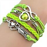 Braderie! Keattl Femmes Bracelets En Cuir Amour Coeurs Perle Infini Multilayer Charme Bracelets En Cuir Bracelets Cadeau (Vert)