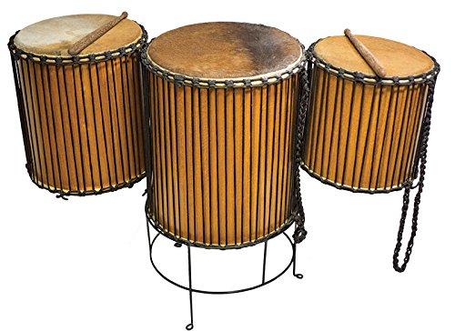 Doun Doun 38x50cm aus Kokos-Hartholz mit Kuhfell bespannt Trommel Percussion Konzert nebeneinander