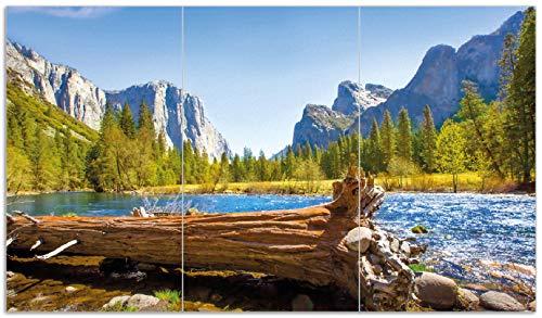 Wallario Herdabdeckplatte/Spritzschutz aus Glas, 3-teilig, 90x52cm, für Ceran- und Induktionsherde, Baumstamm im Fluss zwischen Bergen und Wäldern -