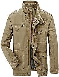 OLD-KING® Hombre Primavera Otoño Invierno Casual Botones Coat Algodón Bombardero Chaqueta Militar Alta Calidad al aire libre Tops chaqueta de moda para hombre