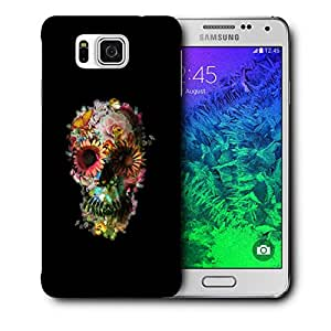 Snoogg Floral Skull Designer Protective Back Case Cover For Samsung Galaxy Alpha