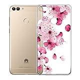 IJIA Custodia per Huawei P Smart/Enjoy 7S Trasparente Rosa Fiore di Pesco TPU Silicone Morbido...