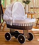 ComfortBaby Snuggly Baby Stubenwagen - komplette'all inclusive' Ausstattung - Zertifiziert & Sicher (WalnussBraun - Weiß)