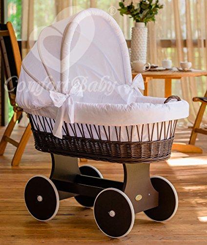 ComfortBaby ® Snuggly Baby Stubenwagen - komplette 'all inclusive' Ausstattung - Zertifiziert & Sicher (WalnussBraun - Weiß)