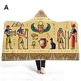 ZIQIAO Cobija Antiguo Egipto Manta con Capucha 3D Estampado Felpa para los niños niños Sherpa Fleece Manta Microfibra Caliente Tirar Manta para el sofá casero Kid130x150cm A