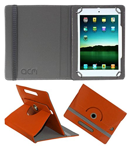 Acm Rotating Leather Flip Case for Tescom Bolt Tablet Cover Stand Orange  available at amazon for Rs.149