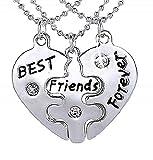 Lovelegis Tres Collares - Colgantes - Rompecabezas de corazón - Dividido - Roto - Partes - Mitad - Piezas - Amistad - BFF - X 3 - para 3 Idea - Mujer - Niña - Mejores Amigos para Siempre - Cumpleaños