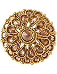 Spargz Traditional Gold Plated AD Stone LCT Color Antique Flower Big Round Finger Ring For Women AIFR 115