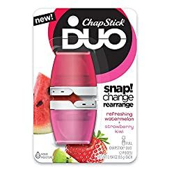 Watermelon + Strawberry Kiwi: ChapStick DUO Full Lip Balm, 8 Hour Moisture, 0.194 Ounce Each (Refreshing Watermelon & Strawberry Kiwi Flavors, 1 Blister Pack of 2 Pieces)