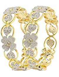 Bandish Gold Toned American Diamond Floral Bangles Set