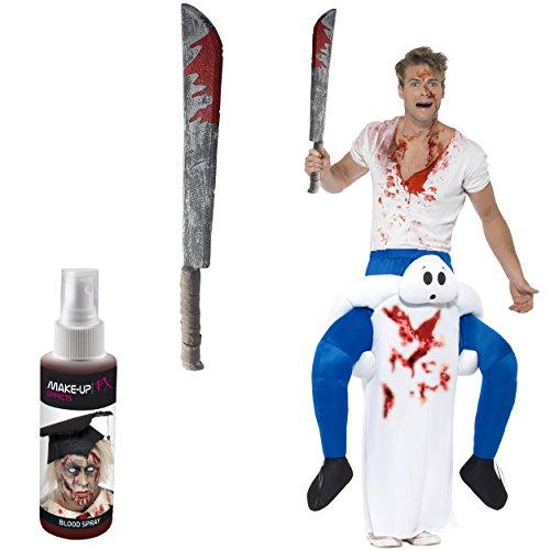 Oramics Halloween außergewöhnliches Horror Kostüm Gespenst Huckepack, Geist Trag Mich Piggyback mit Beinen inklusive Kunstblut-Spray und Spielzeug-Machete, witziges Herren Kostüm