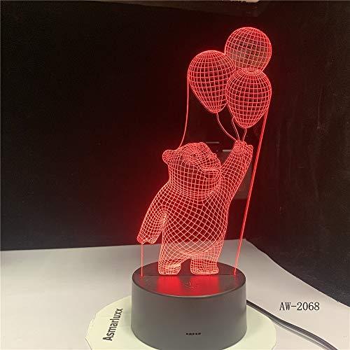 yuandp Bärn-Ballon-Licht 3D LED Nachtschlaf-Dekor-Sichtkarikatur-Schreibtischlampe USB 7 färbt Befestigung für Nachtlicht-Geschenke (Ballon-befestigungen)