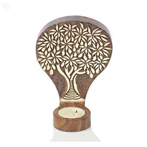 Auf Einem Floral Tisch Lampe (Hashcart Tree of Life Gravur aus Holz Tisch Cum Wand Teelicht cokay LTD für Geschenk/Home Decor)