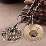 gadgetzone Traditionell Messing buddhistisch Finger Becken Glocken, Tibetische Glocke buddhistisch religiös musikalischer Apparat, 65mm Yoga Meditation Tingsha Glocke Chimes Becken Set