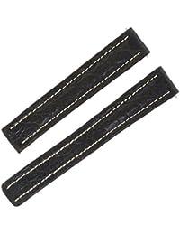 Breitling P5311514mm Bracelet en cuir véritable alligator noir brillant