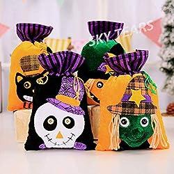SKY TEARS 4PCS Bolsa de Dulces Bolsa de Caramelo no Tejida de Halloween Decoraciones de Festivales Fantasma (A)