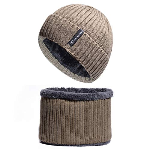 Kostüm Hutch Et Starsky - Jiahe 2-in-1-Mütze für Wintermütze, warme Strickmütze, Fleecefutter, Sportkappe für Männer und Frauen,F