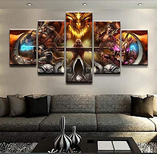 der Wohnzimmer Wandkunst Leinwand Malerei Dekor 5 Stücke Diablo III Reaper of Souls HD Gedruckt Poster Dekor Rahmen 30X40_30X60_30X80cm_Frame ()