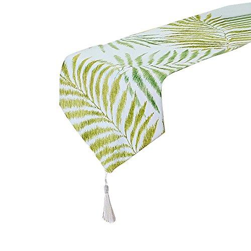 Tong Yue Tischläufer aus Baumwoll-Leinen, Jacquard, grünes Blätter-Motiv, lang, 32x 160cm, Textil, 30x180cm
